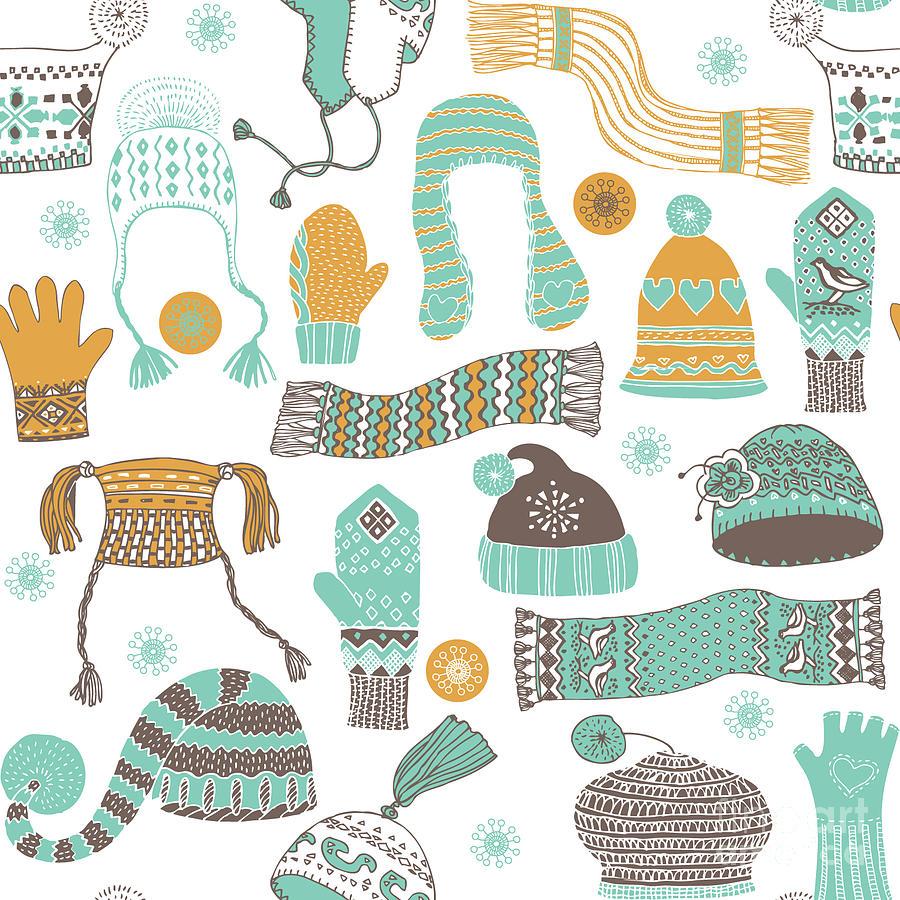 Mittens Digital Art - Seamless Pattern Of Winter Woollies by Lavandaart