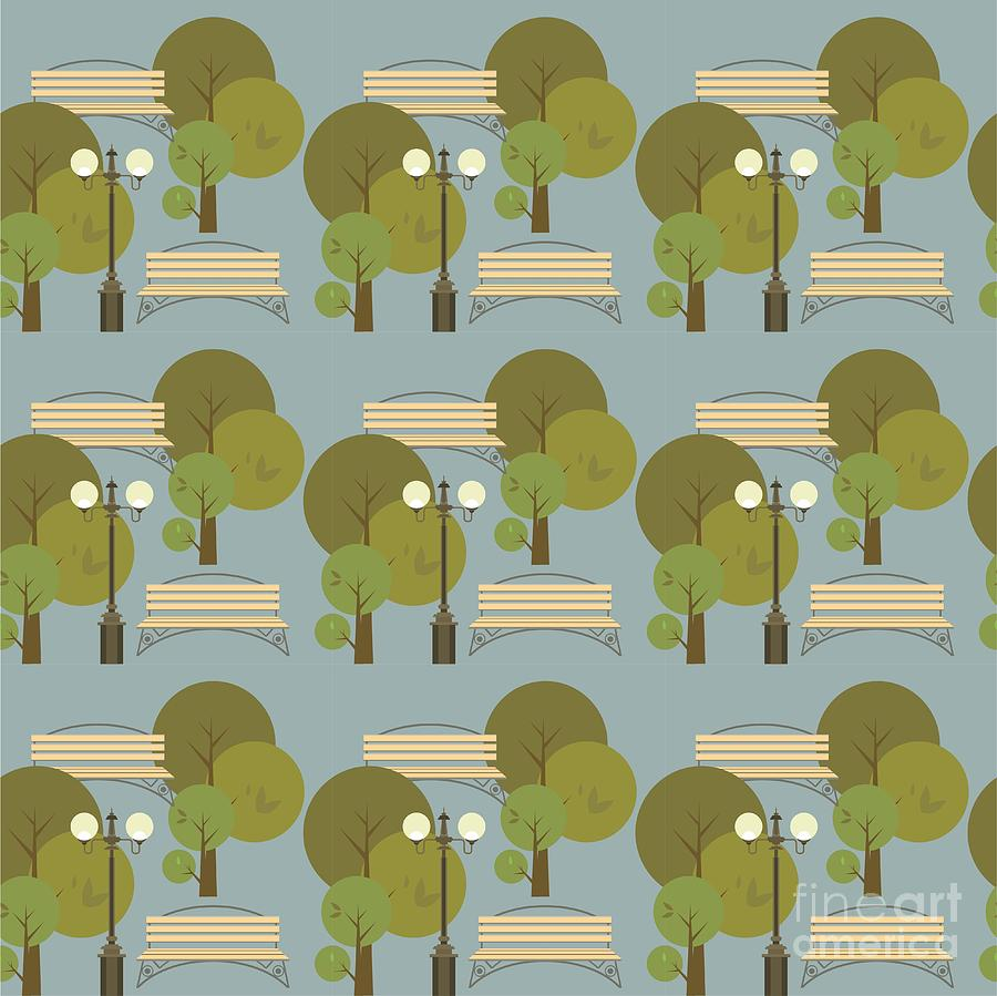 City Digital Art - Seamless Pattern On The Theme Parks And by Marrishuanna