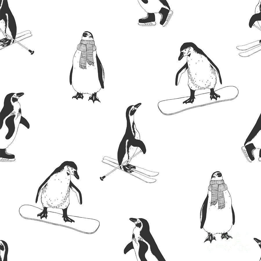 New Digital Art - Seamless Pattern - Penguins. Winter by Crazy Nook