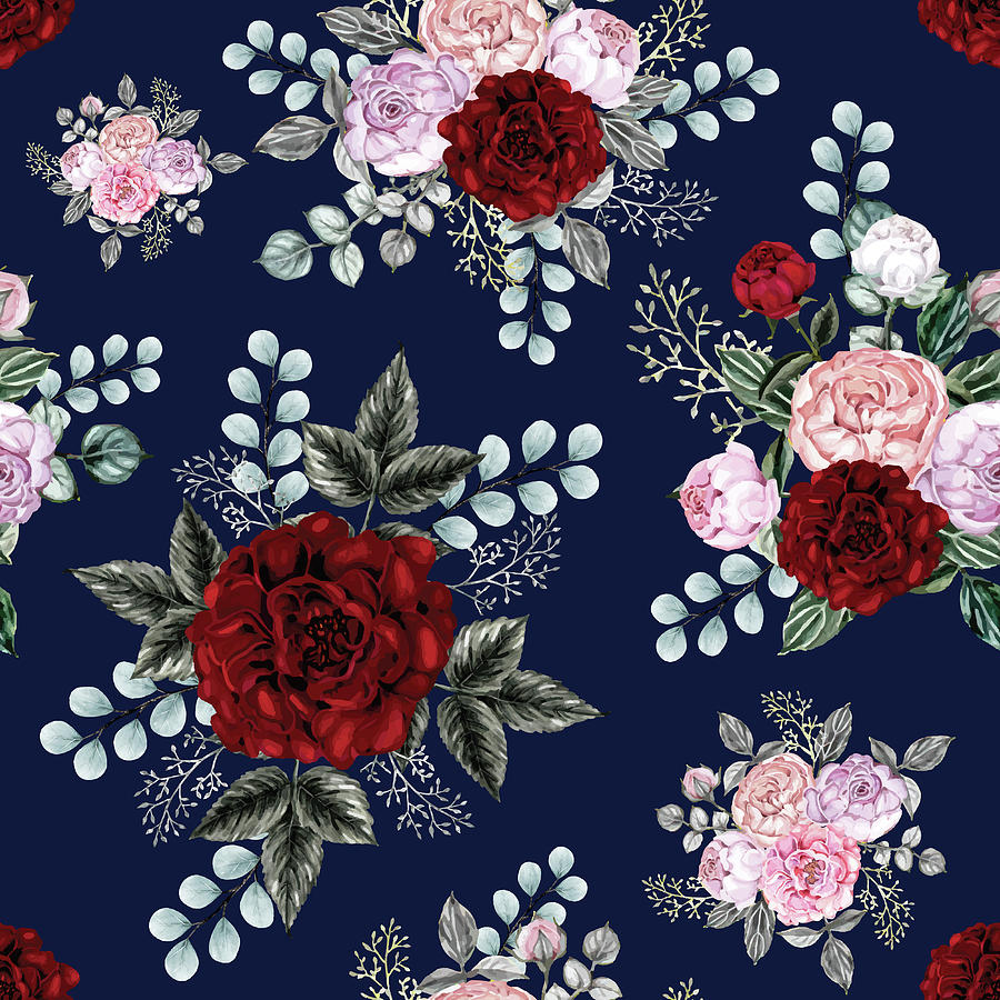 Seamless Pattern Red Rose Flowers Background Digital Art By Tina