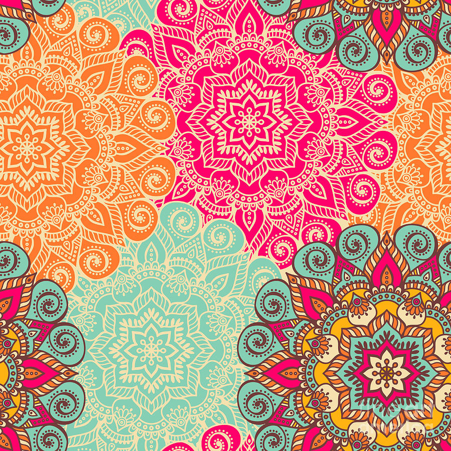 Pakistan Digital Art - Seamless Pattern. Vintage Decorative by Visnezh