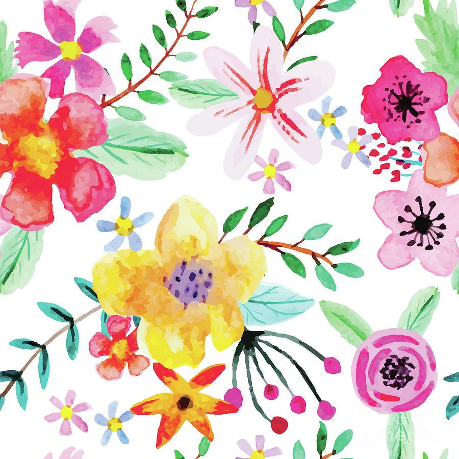 Seamless Pattern With Abstract Flowers Digital Art by Yulia337