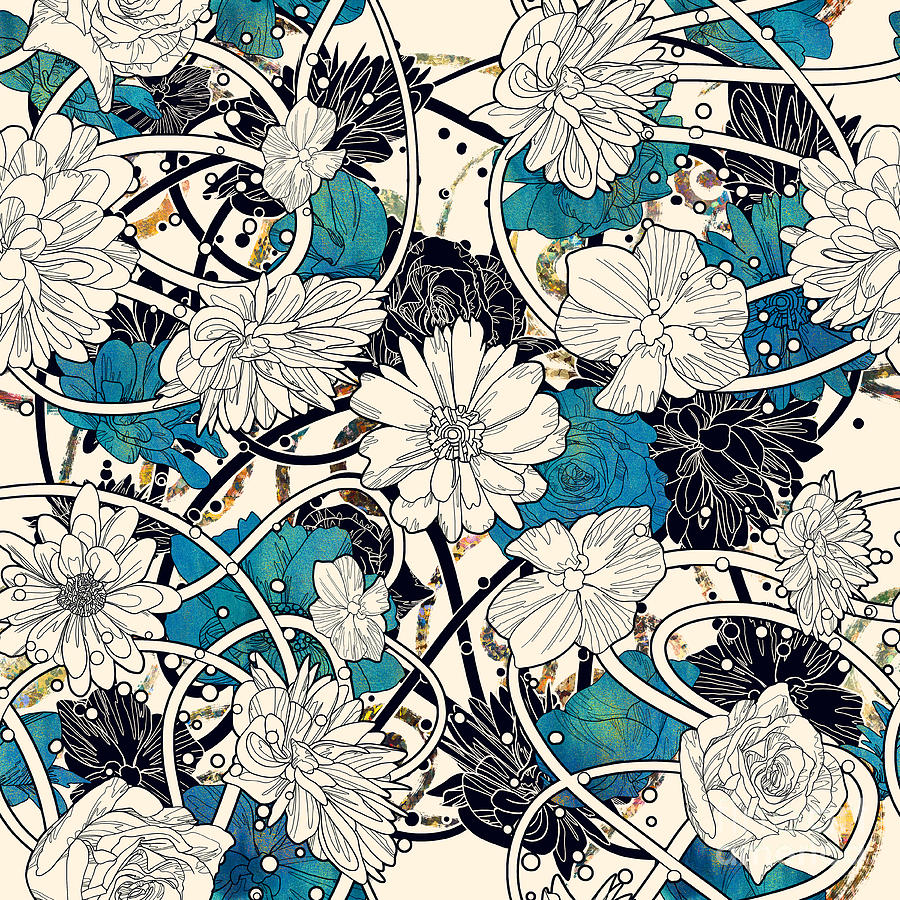 Floral Digital Art - Seamless Pattern With Beautiful Flowers by Tithi Luadthong