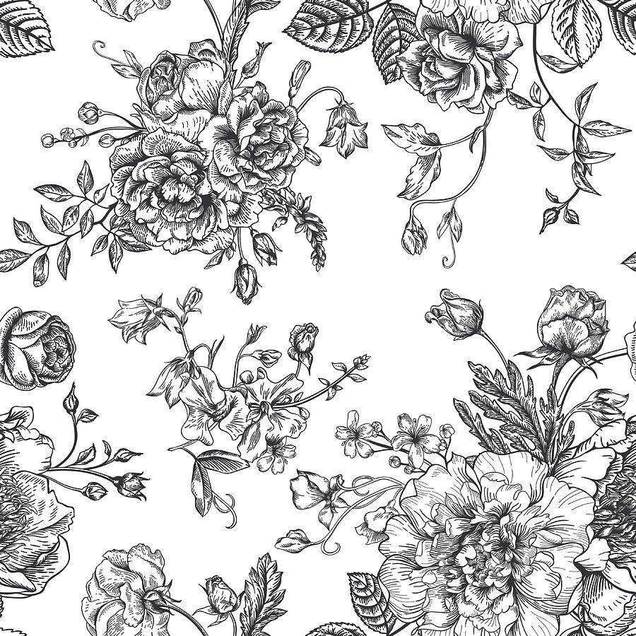 Seamless  Pattern With Bouquet Of Digital Art by Nata slavetskaya