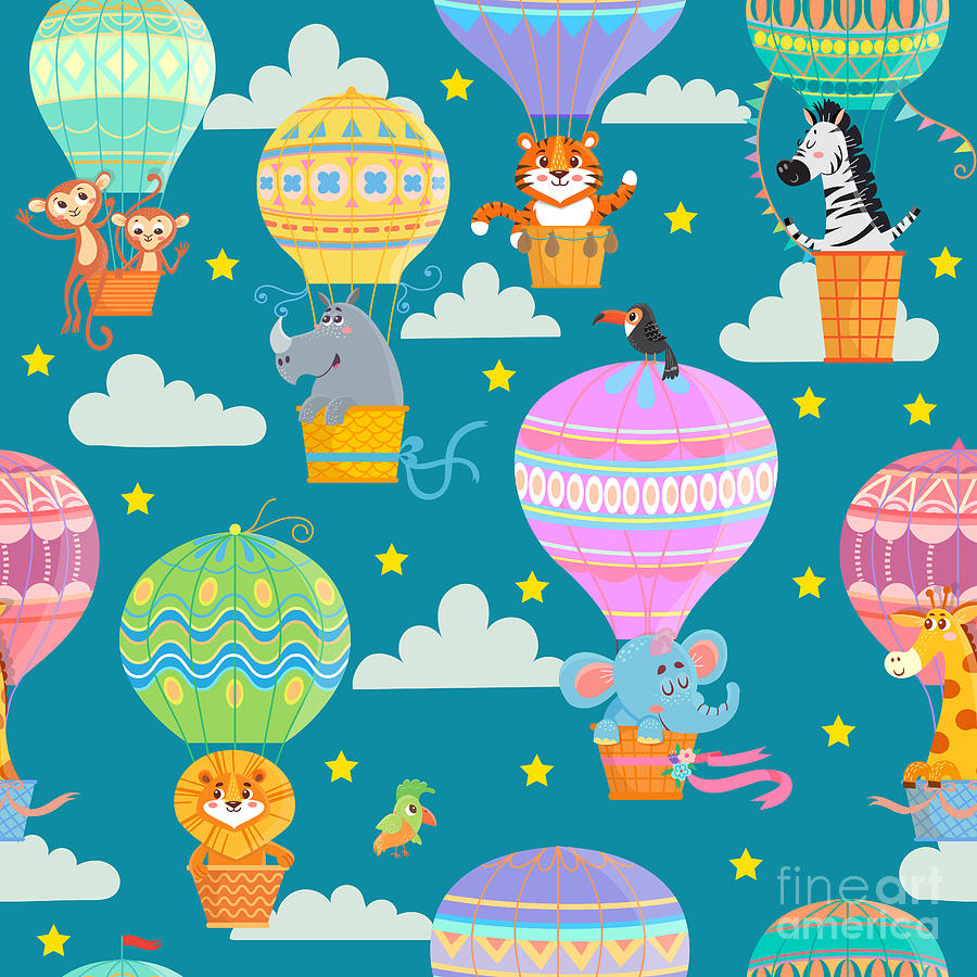 Basket Digital Art - Seamless Pattern With Colorful  Hot Air by Oreshcka