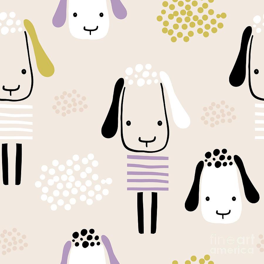 Seamless Pattern With Funny Sheeps Digital Art by Solodkayamari
