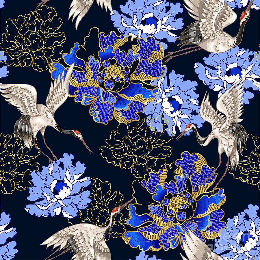 Seamless Pattern With Japanese White Digital Art by Yulimuli