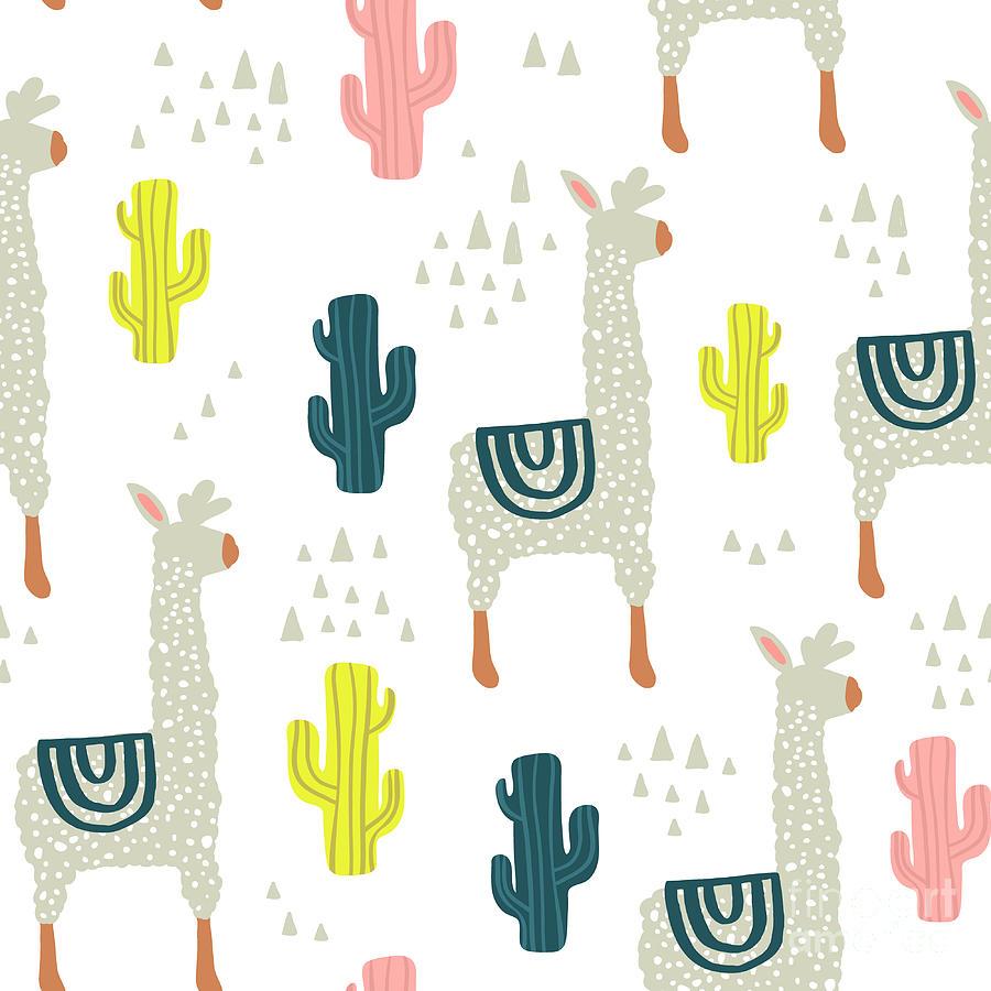 Seamless Pattern With Lamma, Cactus Digital Art by Solodkayamari