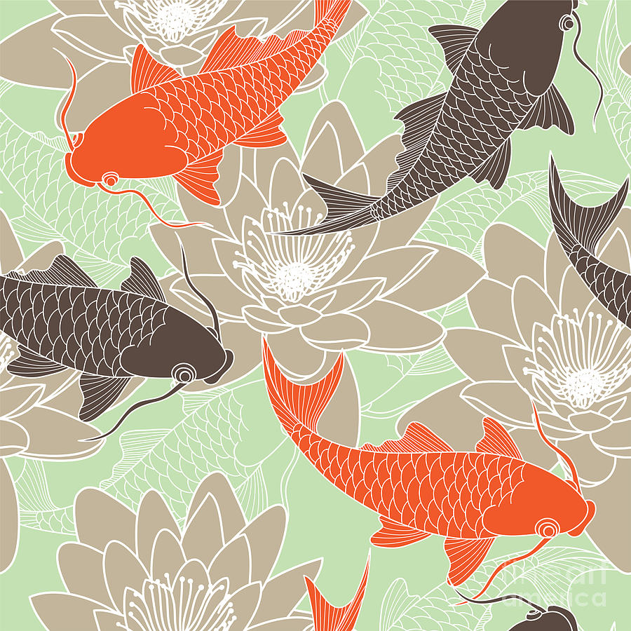 Pond Digital Art - Seamless Pattern With Lotus And Carps by Tets
