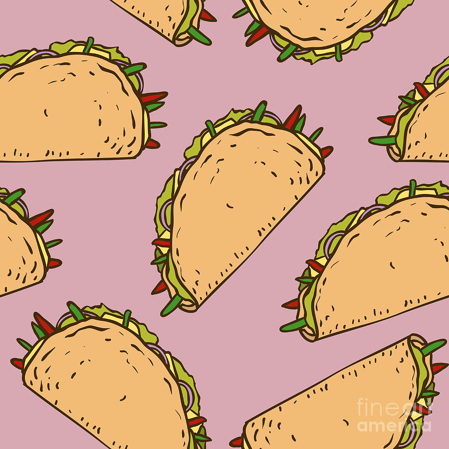 Pepper Digital Art - Seamless Pattern With Mexican Taco In by Koshelev Alexey