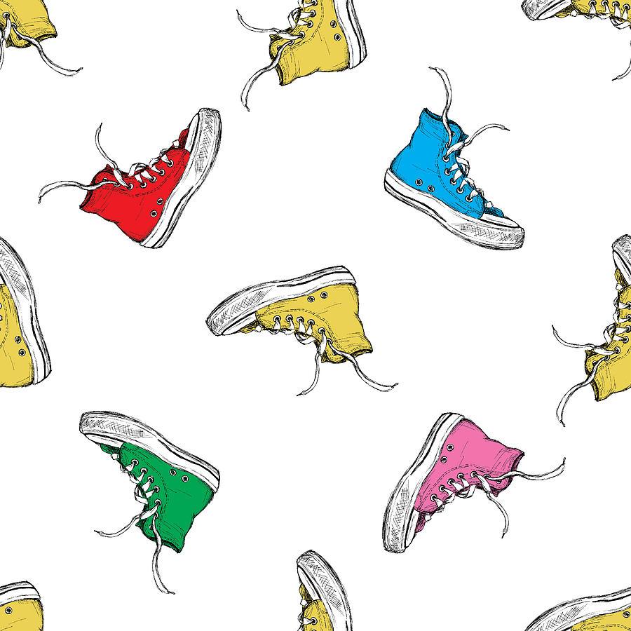 Seamless Pattern With Vintage Sneakers Digital Art by Bagira22