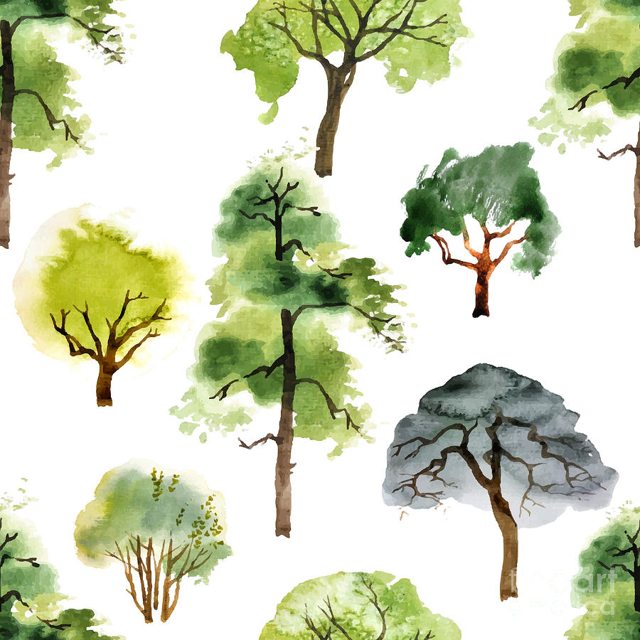 Symbol Digital Art - Seamless Pattern With Watercolor Trees by Mart