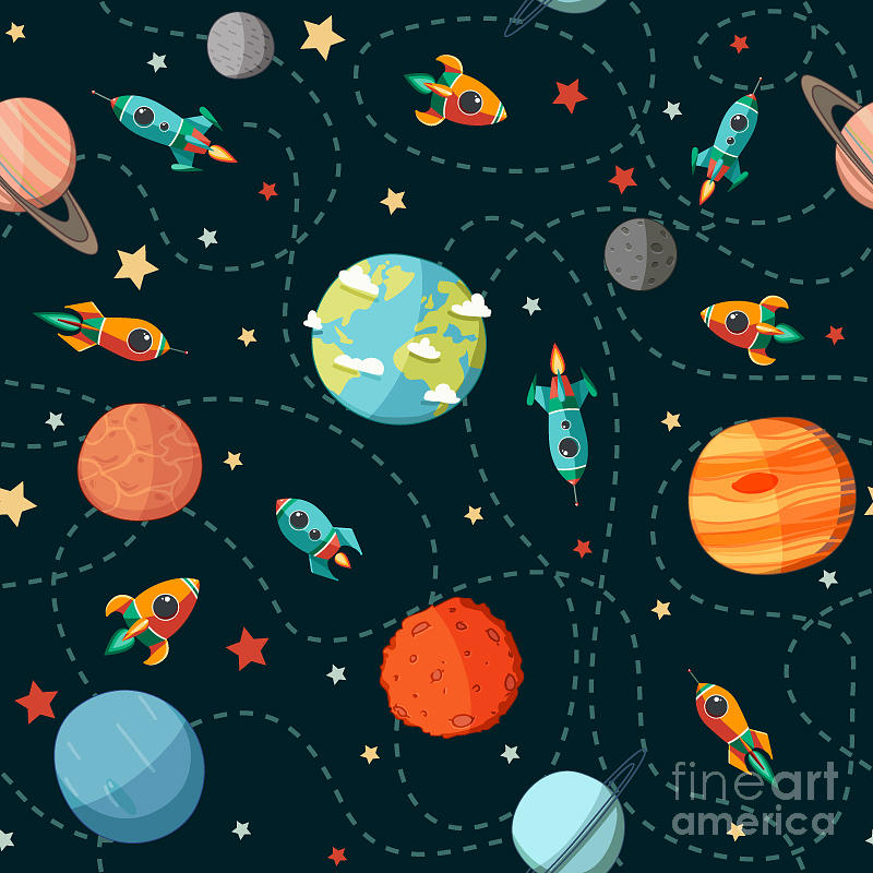 Symbol Digital Art - Seamless Space Pattern. Planets by Motuwe