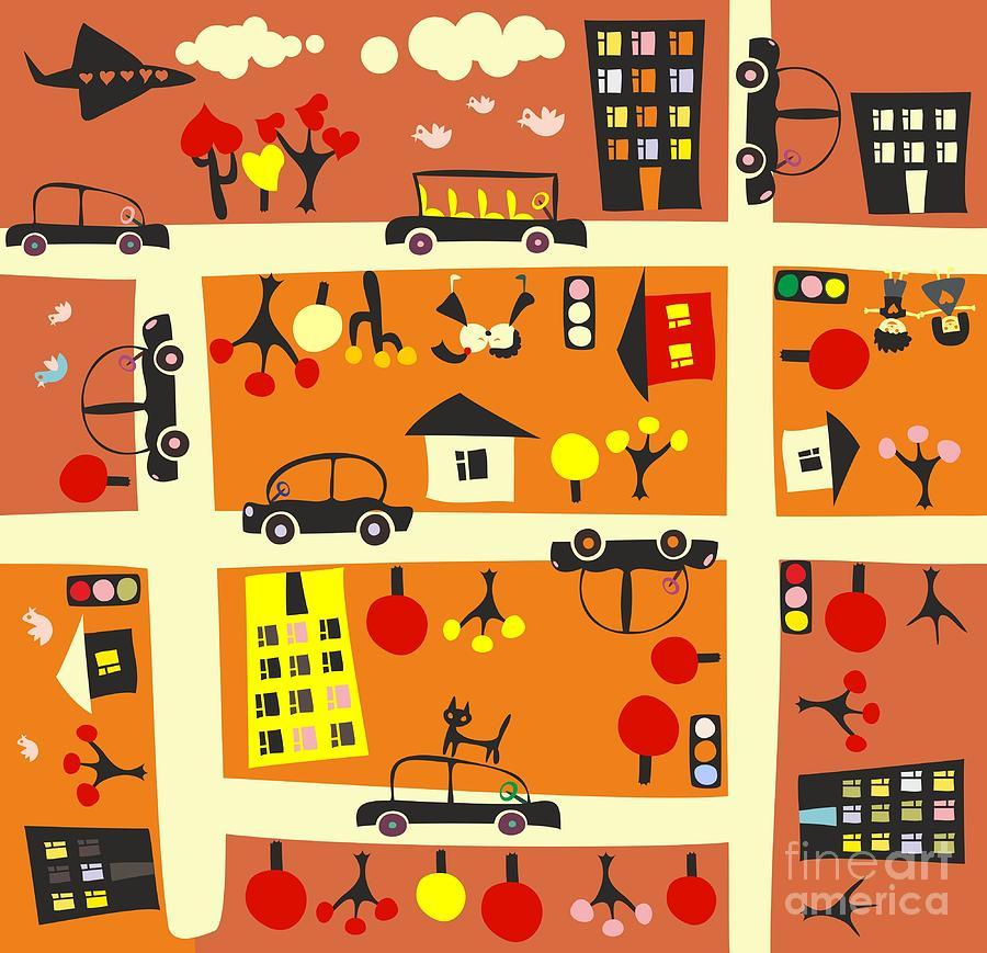 Door Digital Art - Seamless Street In Autumn by Anastasiia Kucherenko