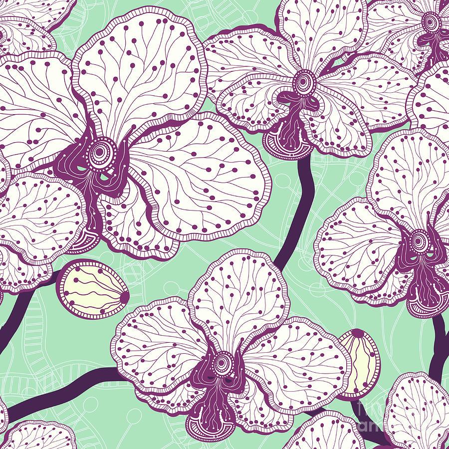 Seamless Stylized Orchid Flower Pattern Digital Art by Julietarts