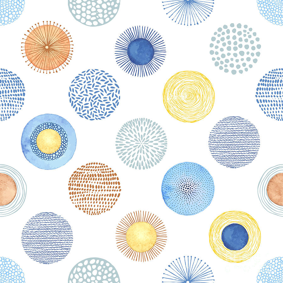 Sparkles Digital Art - Seamless Summer Pattern With Hand-drawn by Nikiparonak