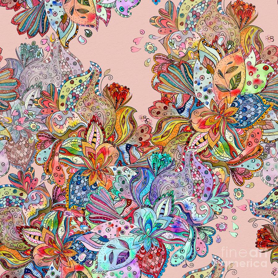 Happy Digital Art - Seamless Texture With Colorful Crazy by Oksana Alekseeva