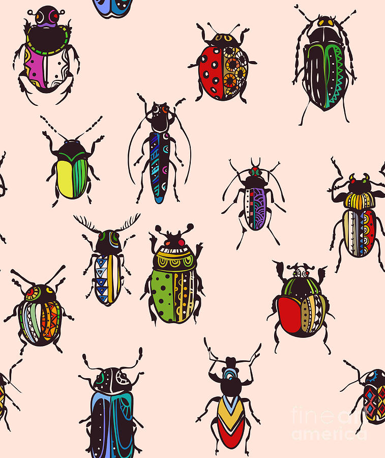 Placemats Digital Art - Seamless Texture With Funny Bugs by Eva mask