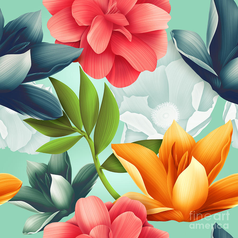 Surfing Digital Art - Seamless Tropical Flower Plant Pattern by Mystel
