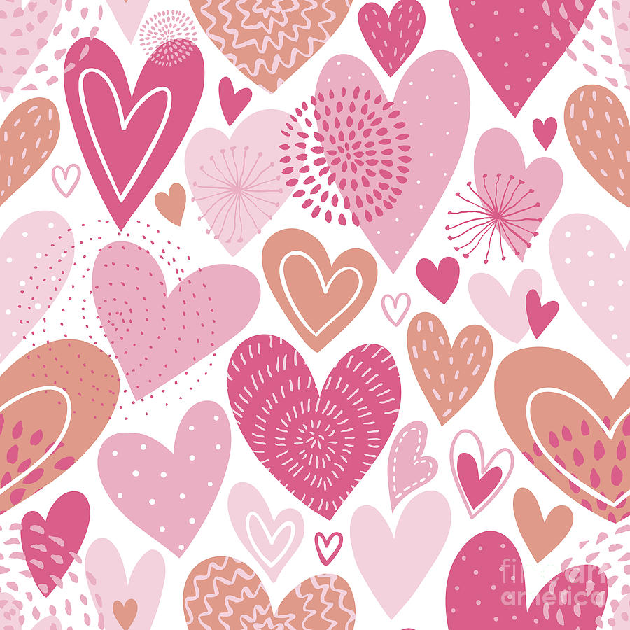 Seamless Vector Pattern With  Hearts Digital Art by Utro na more