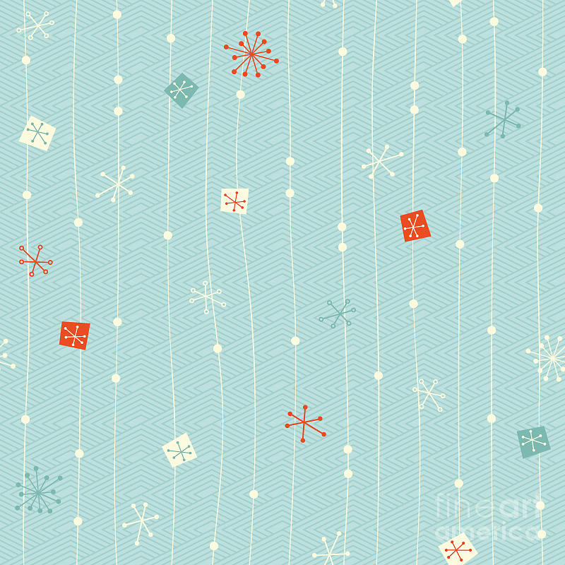 Pattern Digital Art - Seamless Vintage Winter Pattern by Orangeberry