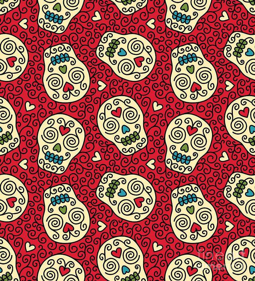 Happy Digital Art - Seamless With Mexican Skulls by Rvvlada