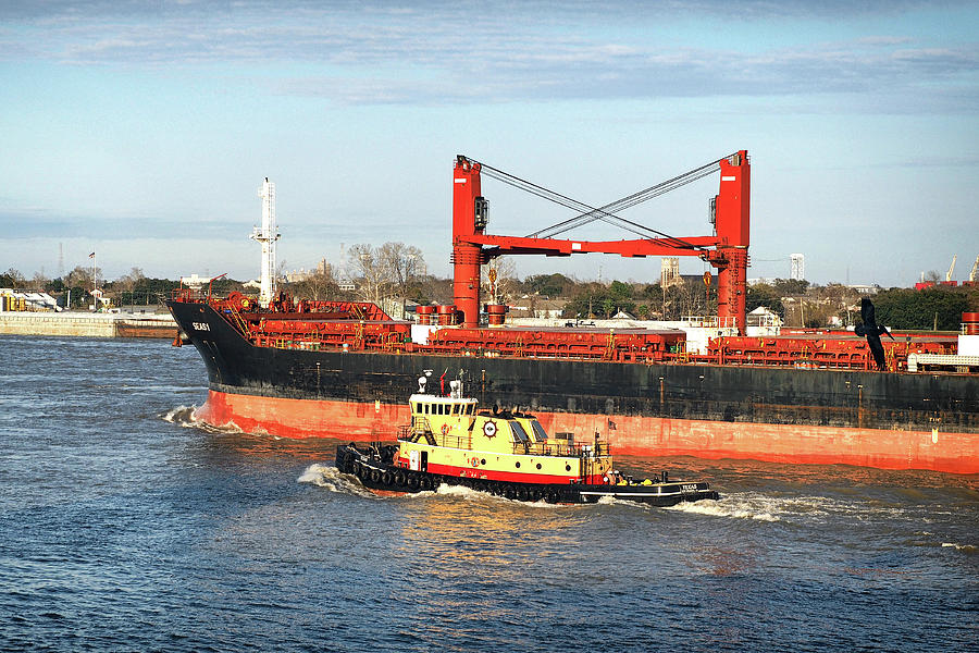 Seas 1 Freighter 9589085 with Tug Escort on the Missippi by Bill Swartwout Photography