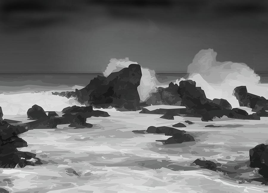 Seascape 10 High Resolution BW by michaelalonzo kominsky