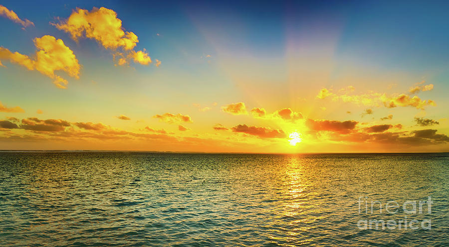Panorama Photograph - Seascape At Sunset. Panorama by MotHaiBaPhoto Prints