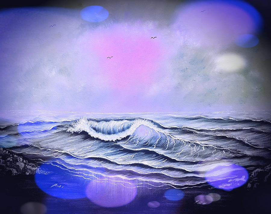 Blue Painting - Seascape Enchantment Glow Stardust Blue  by Angela Whitehouse