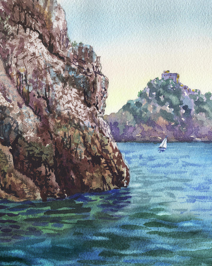 Seascape With Boat And Cliff Watercolor by Irina Sztukowski