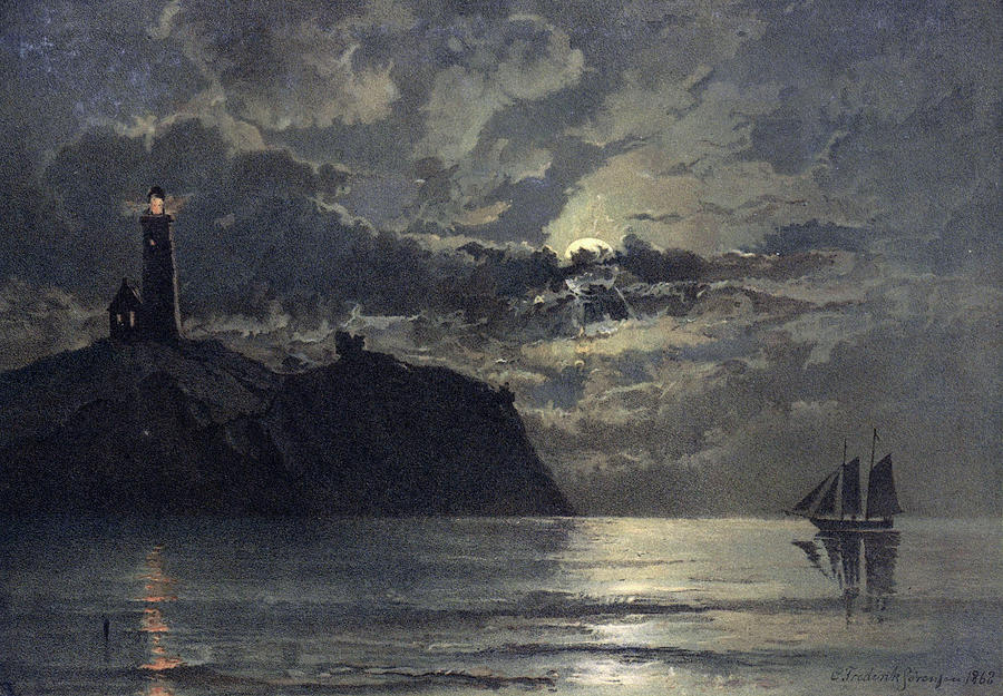Seascape with Lighthouse by Carl Frederik Sorensen