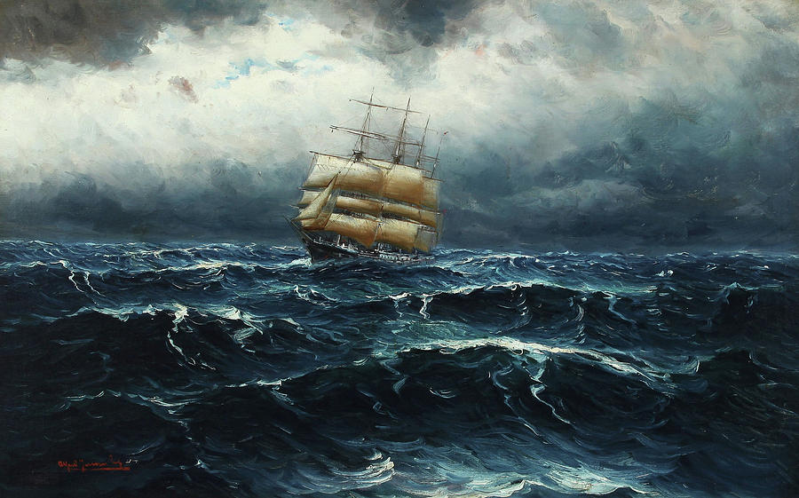 Seascape with Sailing Boat in Rough Sea by Alfred Jensen