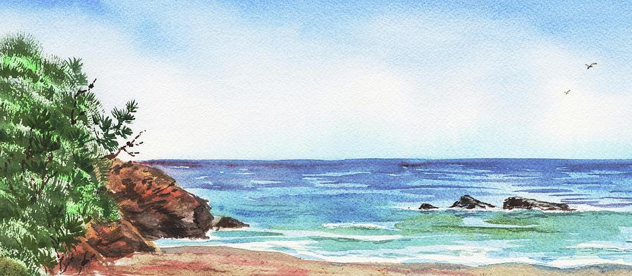 Seashore Ocean Beach Watercolor Seascape Elongated by Irina Sztukowski
