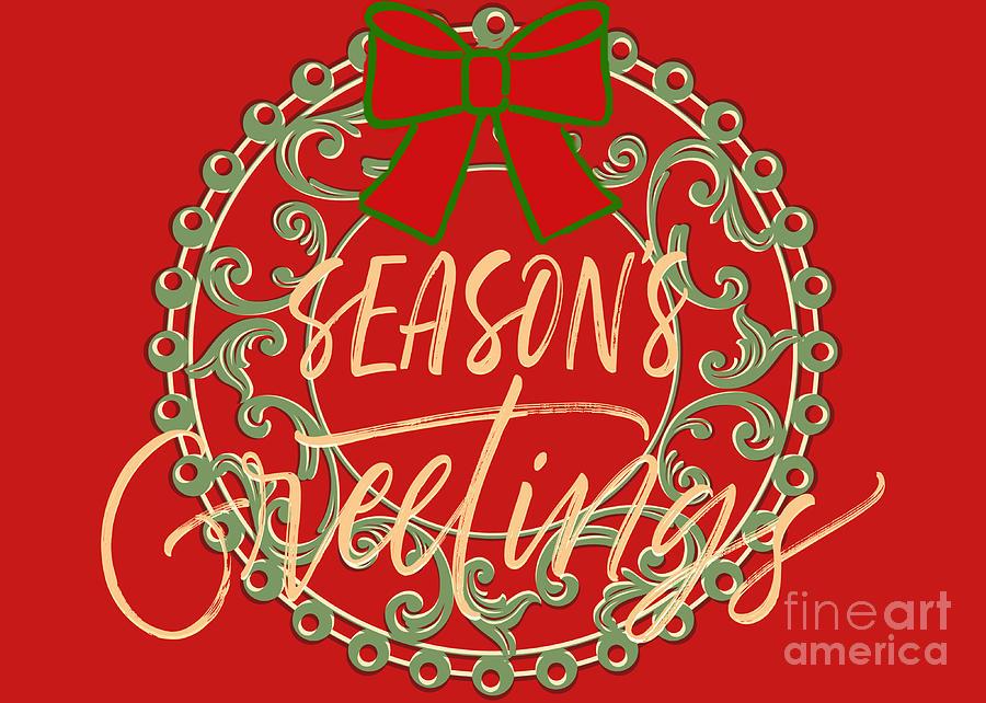 Seasons Greetings Wreath Card Digital Art