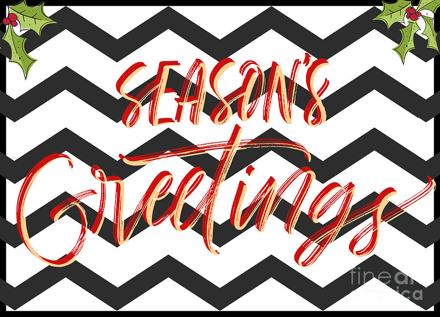 Seasons Greetings Zigzag Holly Digital Art