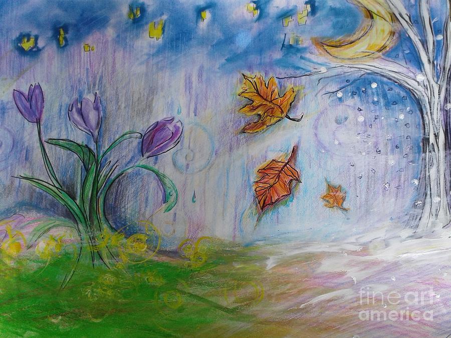 Inspirational Mixed Media - Seasons under midnight sky  by Kurt Fondriest