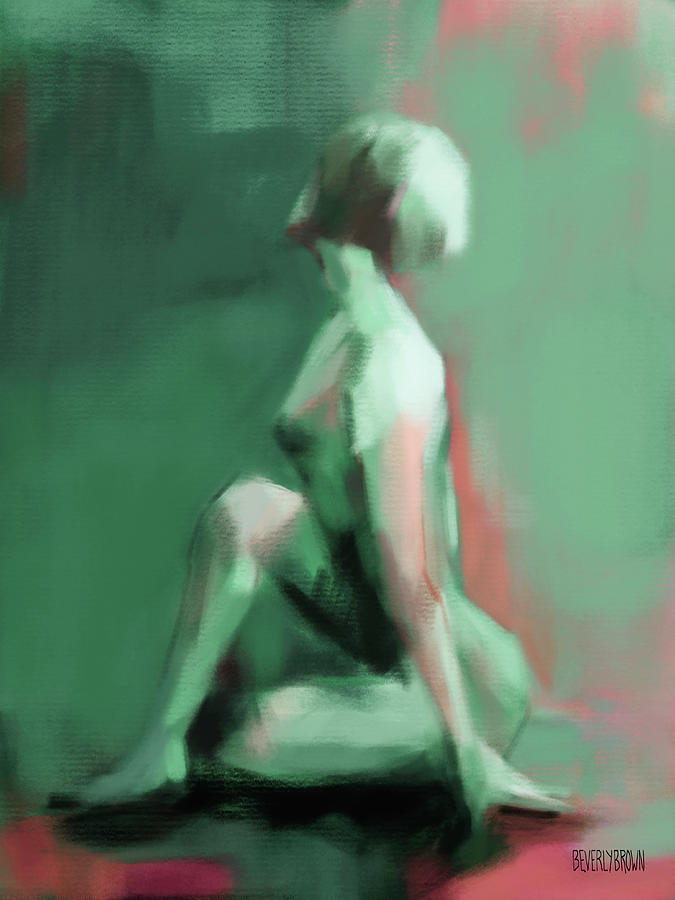 Green Painting - Seated Woman Emerald Jade Coral by Beverly Brown