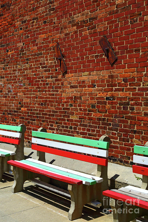 Seats in Colours of Italian Flag Little Italy Baltimore by James Brunker