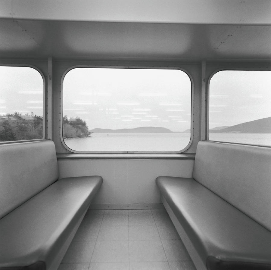 Seats In Ferry B&w Photograph by Peter Delory