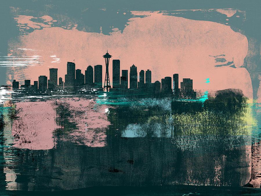 Seattle Mixed Media - Seattle Abstract Skyline I by Naxart Studio