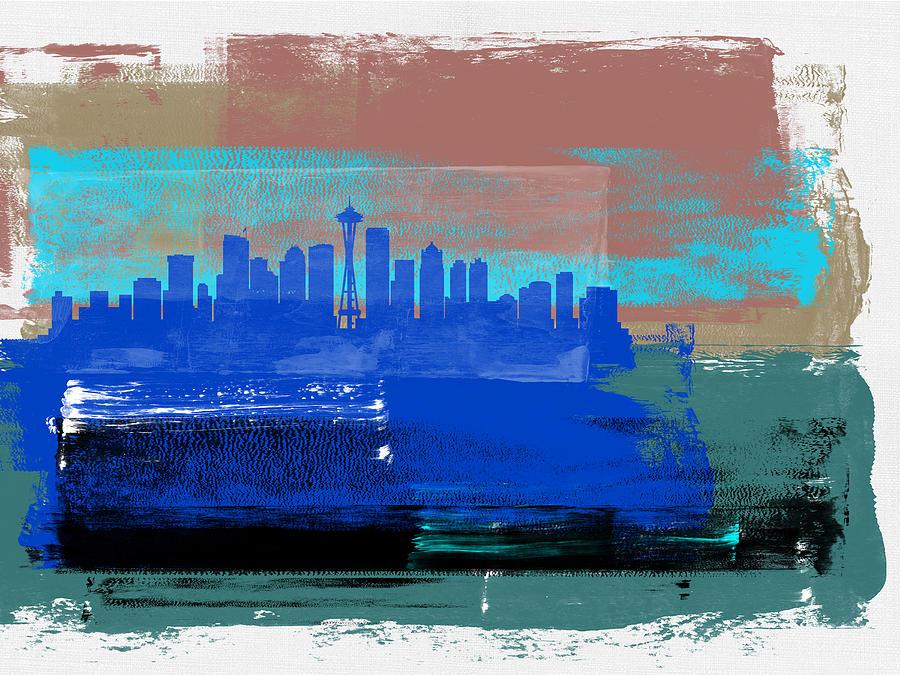Seattle Mixed Media - Seattle Abstract Skyline II by Naxart Studio
