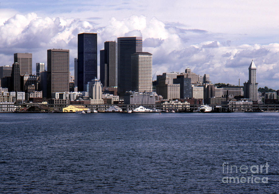 Seattle downtown waterfront viewed from Elliott Bay. Historic Sm by Mr Pat Hathaway Archives
