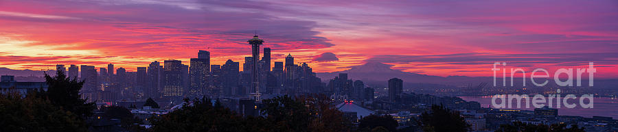 Seattle Fiery Sunrise Panorama from Kerry Park Queen Anne by Mike Reid