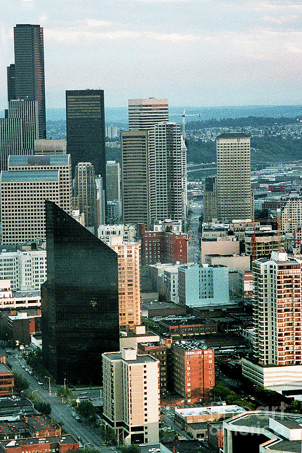 Seattle from the Space Needle 1986 Looking down 2nd Ave, to the Smith Tower by Mr Pat Hathaway Archives