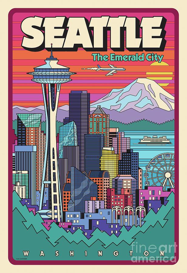 Seattle Digital Art - Seattle Poster - Pop Art Skyline by Jim Zahniser