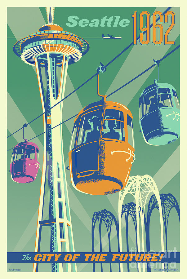 Vintage Digital Art - Seattle Poster- Space Needle Vintage Style by Jim Zahniser