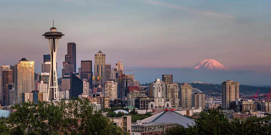 Seattle Skyline and Mt. Rainier Panoramic by Adam Romanowicz