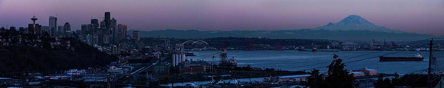 Color Photograph - Seattle Skyline At Dusk by Brenda Petrella Photography Llc
