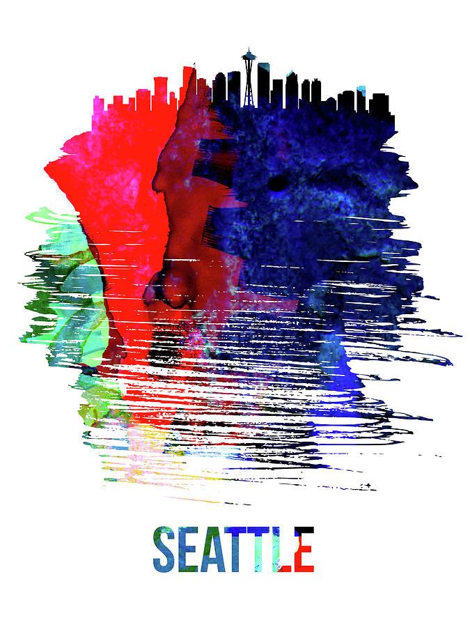 Seattle Mixed Media - Seattle Skyline Brush Stroke Watercolor   by Naxart Studio